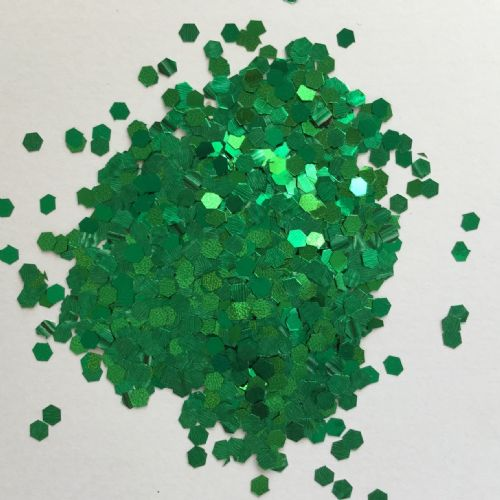 3mm EMERALD GREEN HEX GLITTER POT - 10g